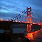 Red Night, Golden Gate Bridge, San Francisco by Jane McDougall