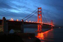 Red Night, Golden Gate Bridge, San Francisco by Jane McDougall