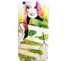 Fashion illustration with pink hair and green stripes iPhone Case/Skin