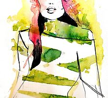 Fashion illustration with pink hair and green stripes by silvianna