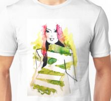 Fashion illustration with pink hair and green stripes Unisex T-Shirt