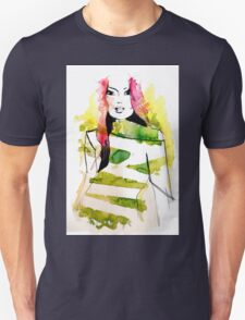 Fashion illustration with pink hair and green stripes T-Shirt