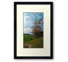 Trees, clouds and the trail up on the hill | landscape photography Framed Print