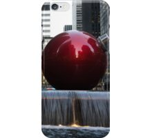 A Christmas Card from New York City - Manhattan Skyline Reflecting in Giant Red Balls iPhone Case/Skin