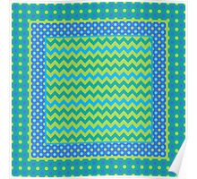 Mix'n'match Blue Green Chevrons and Polka Dots Poster