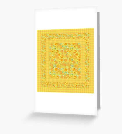 Watercolor Golden Daffodils and Matching Check Gingham Greeting Card