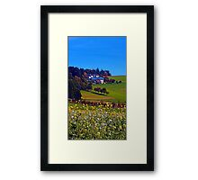 Panorama behind a sea of flowers | landscape photography Framed Print