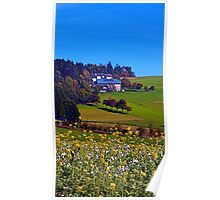 Panorama behind a sea of flowers | landscape photography Poster
