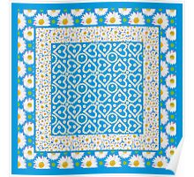 Pretty Mix'n'match Daisy Chains Patterns on Blue Poster