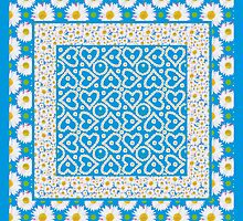 Pretty Mix'n'match Daisy Chains Patterns on Blue by helikettle