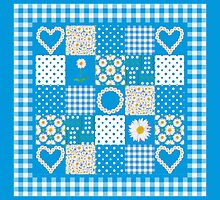Daisy Chains Faux Patchwork and Check Gingham by helikettle