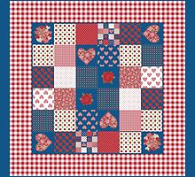 Hearts and Roses Faux Patchwork Pattern by helikettle