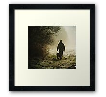hunting pheasants on a misty morning  Framed Print