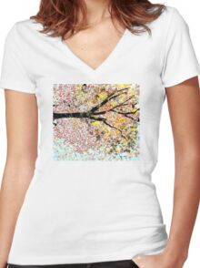 Beautiful Tree Sideways Women's Fitted V-Neck T-Shirt