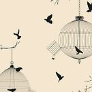 Birds and birdcages by Richard Laschon