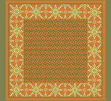 Tribal Rust Green Cream Mix'n'Match Patterns by helikettle