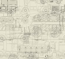 Seamless pattern vehicles design by Richard Laschon