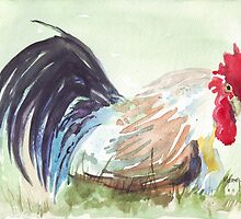 Solly's rooster relaxing by Maree  Clarkson