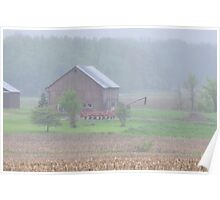 Misty Red Barn Scene Poster