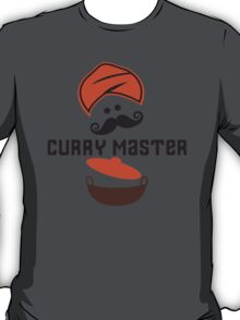 Funny Curry Master Indian Restaurant Chef Turban and Moustache T-Shirt