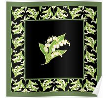 Art Nouveau Lily of the Valley Motif and Border on Black Poster