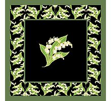 Art Nouveau Lily of the Valley Motif and Border on Black Photographic Print