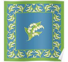 Art Nouveau Lily of the Valley Motif and Border on Blue Poster