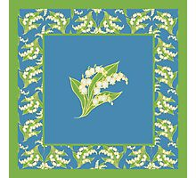 Art Nouveau Lily of the Valley Motif and Border on Blue Photographic Print