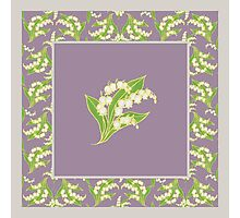 Art Nouveau Lily of the Valley Motif and Border on Mauve Photographic Print