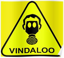 Funny Vindaloo Curry Gas Mask Yellow Warning Sign Poster