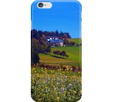 Panorama behind a sea of flowers | landscape photography iPhone Case/Skin