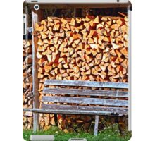 Bench at the firewood place iPad Case/Skin
