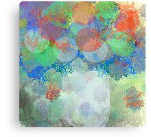 Decorative Flower Bouquet in Blue, Orange, Red, and Green Canvas Print