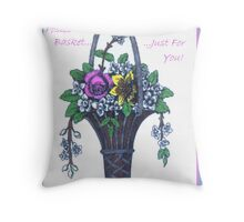Posies In A Basket Throw Pillow