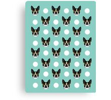 Logan - Boston Terrier pattern polka dots dog print gift for dog person dog lovers terrier custom Canvas Print