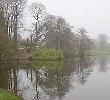 witley court lake in the mist by WyeLookAtThis