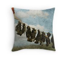 When Dogs Brought Us Food Throw Pillow