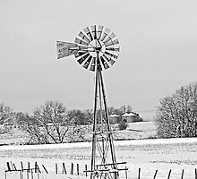 Black and White of Windmill in winter by Tony Weatherman