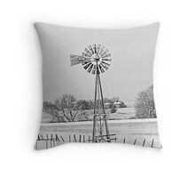 Black and White of Windmill in winter Throw Pillow