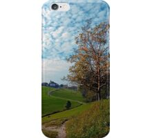 Trees, clouds and the trail up on the hill | landscape photography iPhone Case/Skin