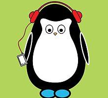 Hugo with headphones by danicorbett