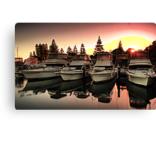 boats at sunrise Canvas Print