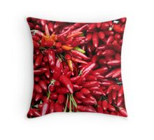 Paprika (Peppers) at a Market Stall.  Throw Pillow