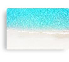 Sand beach with turquoise sea waves Canvas Print