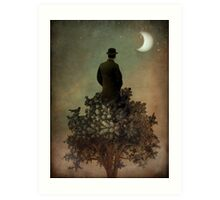 Man in tree Art Print