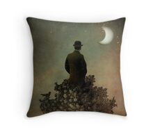Man in tree Throw Pillow