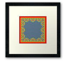 Country Style Marigolds Border on Indigo with Red Edging Framed Print