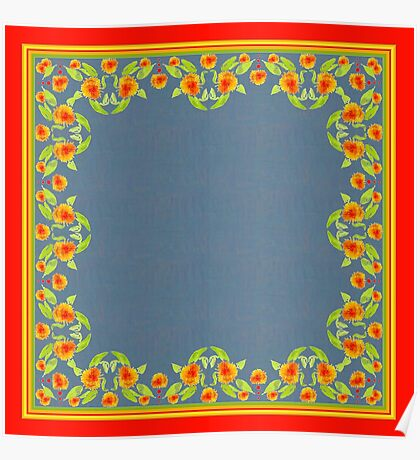 Country Style Marigolds Border on Indigo with Red Edging Poster