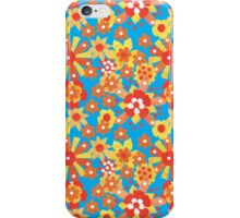 Ditzy Orange Flowers on Blue, Bright Red Border iPhone Case/Skin