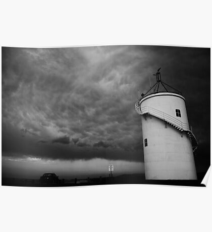 Lighthouse Storm (BW) Poster
